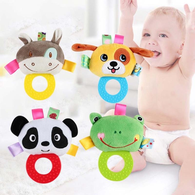 Animal Hand Bells Teether Rattle Doll Plush Baby Rattles Toys Infant Newbron Early Education Toys Monkey Panda Lion Dog