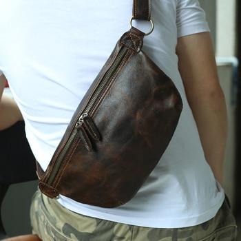 Men Waist Belt Fanny Pack Genuine Leather Crossbody Shoulder Bag Functional Chest Bags Vintage Style Large For Ipad Mobile Phone