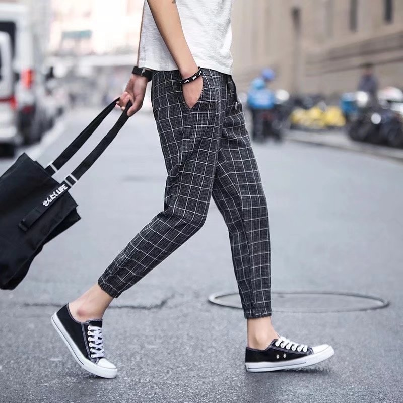 INS Super Fire Plaid Skinny Pants Men's Korean-style Casual Slim Fit Capri Harem Pants Suit Loose-Fit Beam Leg 9 Points