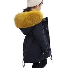2019 Winter Boys Girls Fur Parka Coat Kids Real Fur
