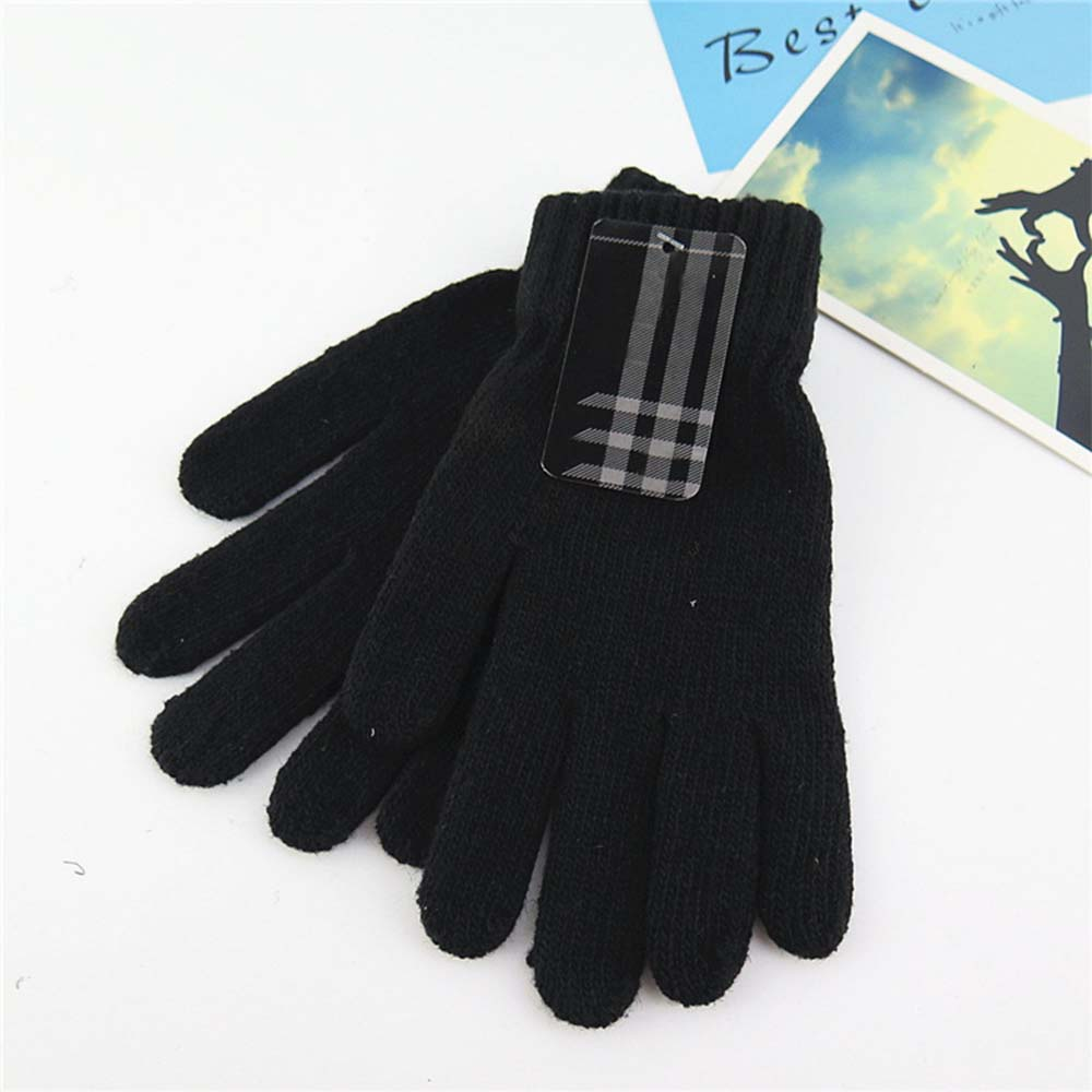 New 1 Pair Men's Sport Cycling Gloves Autumn And Winter Warm Knitted Wool Monochrome Solid Color Five-finger Full Finger Gloves