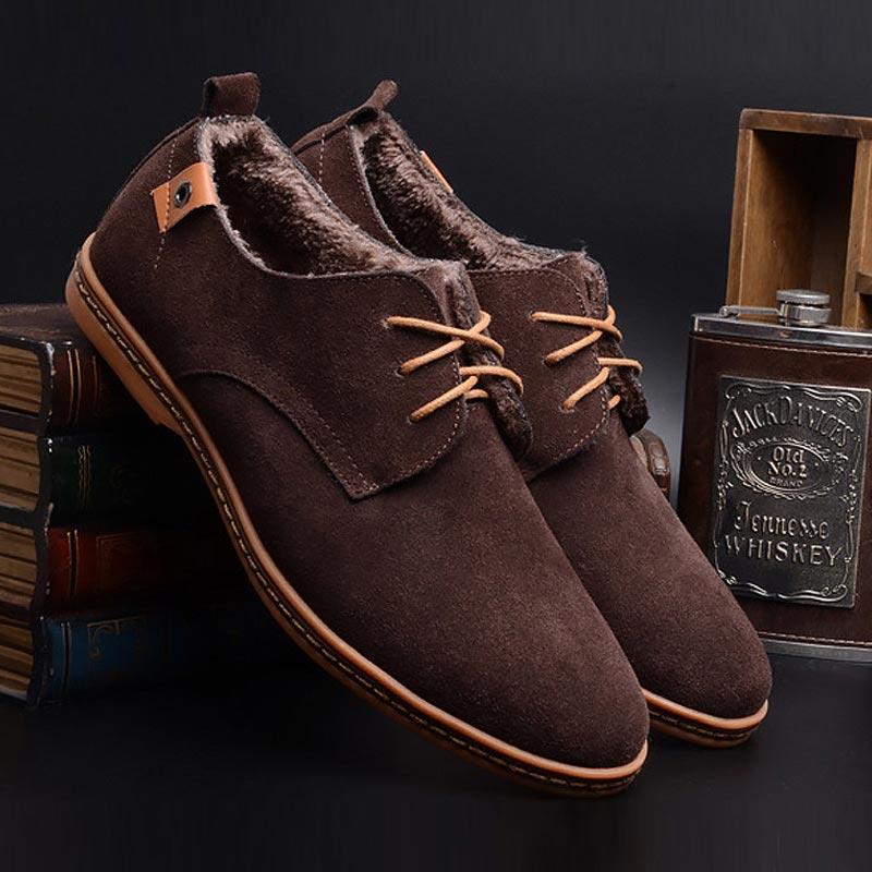 Men Boots 2019 Fashion Ankle Boots Men Shoes Chelsea Boots Plush Warm Winter Boots Men Suede Leather Oxfords Shoes Men Sneakers