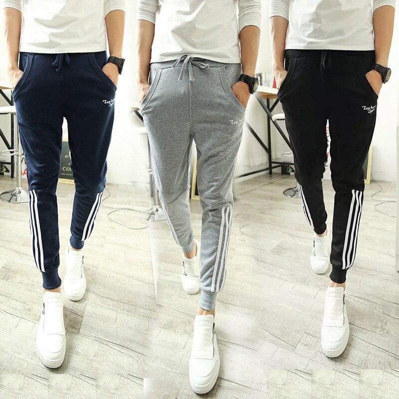 New Style Casual Pants Men's Korean-style Slim Fit Pants Harem Pants Fashion Man Hold Three Lever Beam Leg Sports Long Pants Fas