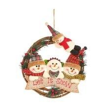 Christmas Rattan Circle Santa Claus Snowman Elk Pendant Wreath Ornament Decorations New Year Gift