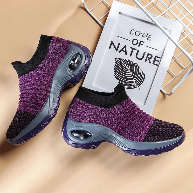 Damyuan çorap Sneakers düz ayakkabı kadın ayakkabı platformu üzerinde kayma ayakkabı kadın rahat siyah nefes örgü çorap Sneakers 2019