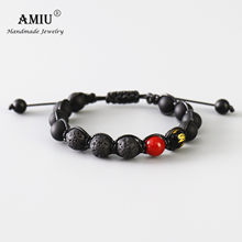 AMIU Handcrafted Men's Natural Stone Bead Bracelet Black Obsidian Bead Wax Cord Black Lava Rock Beads Rosary Bead Bracelet(China)