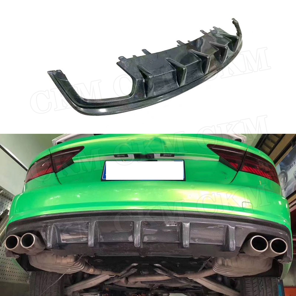 Для A7 углеродного волокна диффузор, губа на задний бампер спойлер для Audi A7 S7 Sline Sport 2012 2018 автомобильный Стайлинг