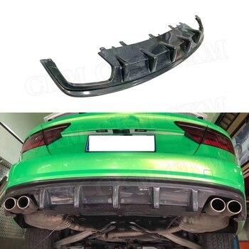 For A7 Carbon fiber Rear Bumper Lip Diffuser Spoiler For Audi A7 S7 Sline Sport 2012- 2018 Car Styling