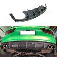 For A7 Carbon fiber Rear Bumper Lip Diffuser Spoiler For Audi A7 S7 Sline Sport 2012 2018 Car Styling