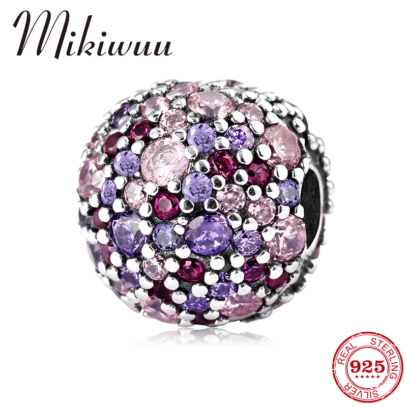100% Real 925 Sterling Silver Rouge Purple Zircon Round Shape DIY Clip Beads Jewelry Making Fit Original Pandora Charms Bracelet