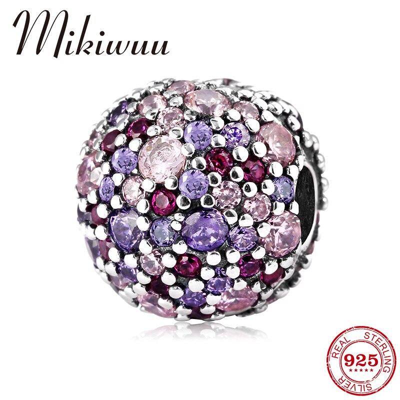 100% réel 925 argent Sterling Rouge violet Zircon forme ronde bricolage pince perles fabrication de bijoux bracelet à breloques Pandora Original