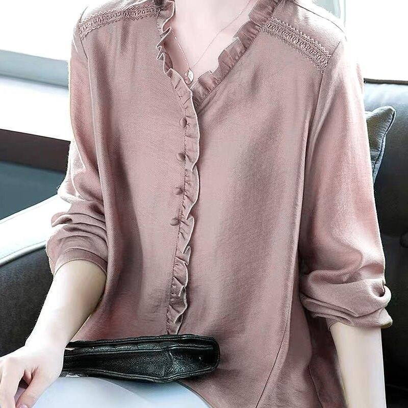 Plus Size Shirt Women Elegant Ruffle Office Blouse Ladies Work Loose Casual Tops V Neck Long Sleeve Tees Black