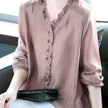 Plus size Shirt Women Elegant Ruffle Office Blouse Ladies Work Loose Casual Tops V neck Long sleeve Tees Black цена