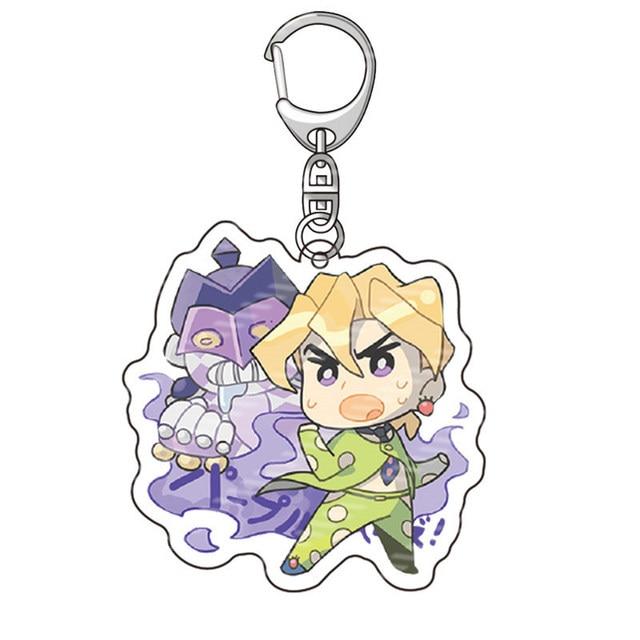 Anime JoJos Bizarre Adventure Acrylic Keychains Accessories Cartoon Jotaro Kujo Figure Key Chains Pendant Accessories Key Rings 2