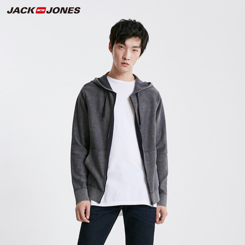JackJones Men's Hooded With Drawstring Knit Sweater Basic Jacket| 219124502