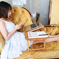 Portable Folding Bamboo Laptop Table Sofa Bed Office Laptop Stand Desk Bed Table For Computer Notebook Books