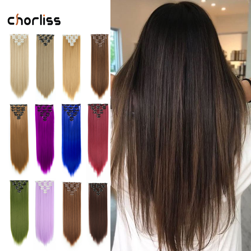 22inch Clips In Synthetic Clip-in Hair Extensions 7pcs/set Clip In Hair Extensions Straight Hair Blonde Heat Resistant Hair