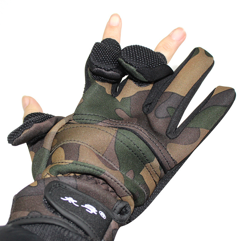 Image 3 - Fishing gloves Camouflage waterproof gloves Can be exposed three fingers Winter thick warm non slip glovesFishing Gloves   -