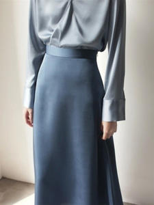 Summer Skirt Faldas Satin Vintage Ankle-Length Korean-Style High-Waist Mujer Womens A-Line