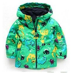 Crianças outono inverno outerwear roupas meninos dinossauro com capuz rainsuit jaqueta de chuva do bebê esportes outerwear casacos infantis vestindo