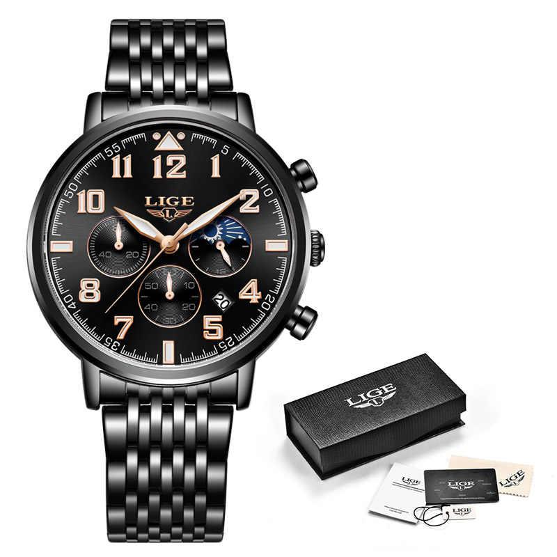 2019 модные Для мужчин s часы lige Top Роскошные Брендовые Часы Для мужчин Спорт Full Сталь водонепроницаемые кварцевые часы наручные часы Relogio Masculino