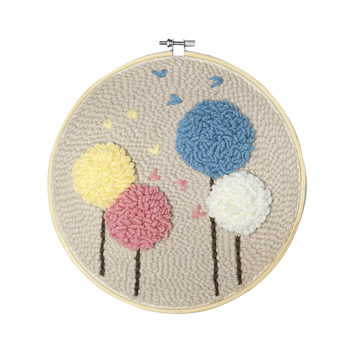 Flower Needlework Handmade Rug Hooking Set with Embroidery Hoop Table Cloth Felting Threader Punch Needle Sets DIY Embroidery Kit for Starters