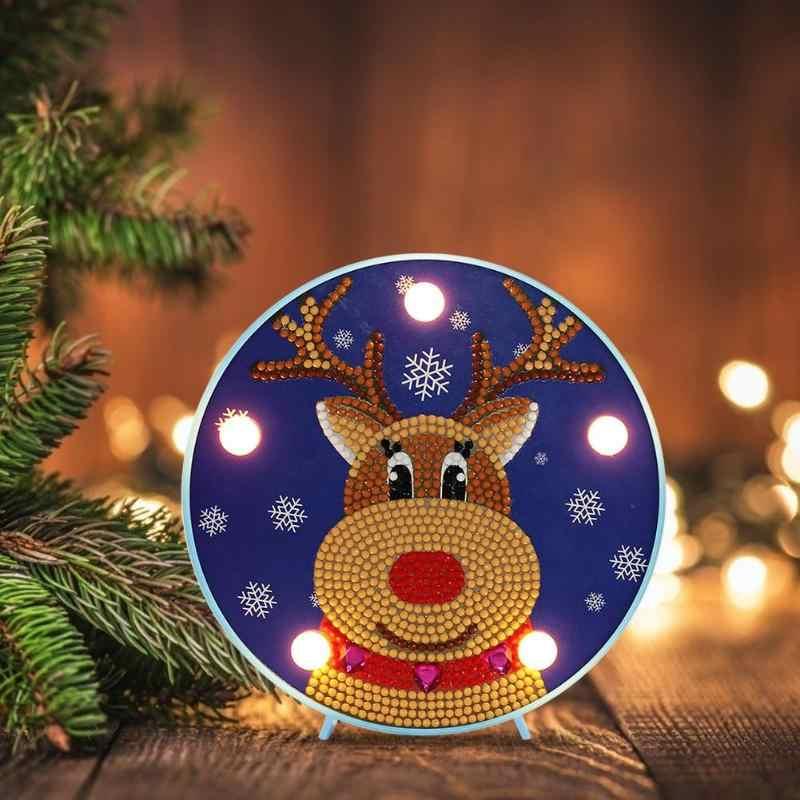 DIY Natal Lampu LED Berbentuk Khusus Diamond Lukisan Natal Snowman Elk Ornamen Bordir Pemodelan Lampu Meja Dekorasi