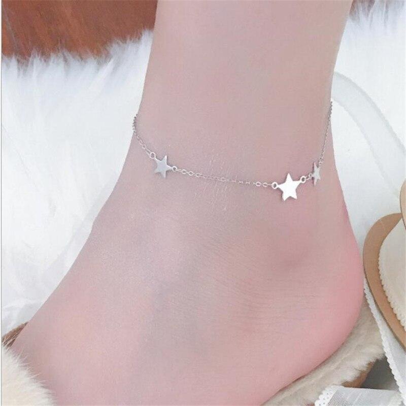 LULU-PIG Hot selling new 925 sterling silver three star anklet female temperament sexy feet Korean version tide JL-5