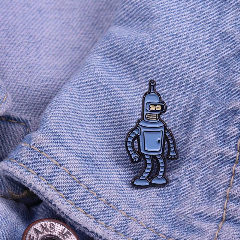 Bender bükme Rodriguez emaye Pin amerikan animasyon komedi broş kadın erkek çocuklar için yaka Pin kot gömlek poşeti rozeti