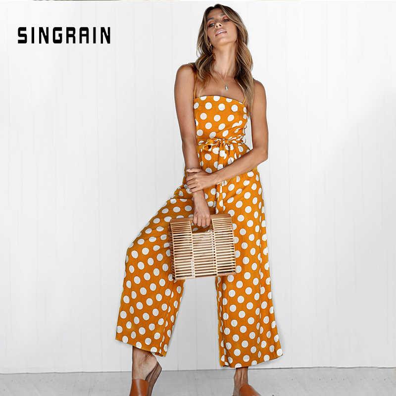 ผู้หญิง Rompers ฤดูร้อนกางเกง Elegant สายนาฬิกาผู้หญิง Jumpsuits 2019 Polka Dot PLUS ขนาด jumpsuit off ไหล่ overalls สำหรับสตรี