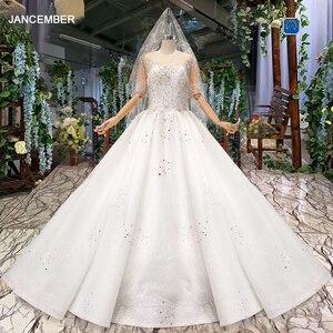 Image 1 - Винтажное свадебное платье HTL966 для невесты, кружевные свадебные платья с коротким рукавом и круглым вырезом, Африканские свадебные платья для женщин 2020 с вуалью, vestido noiva