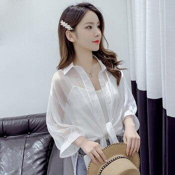Shirts Women Half Sleeve Button Up Chiffon Blouses 4