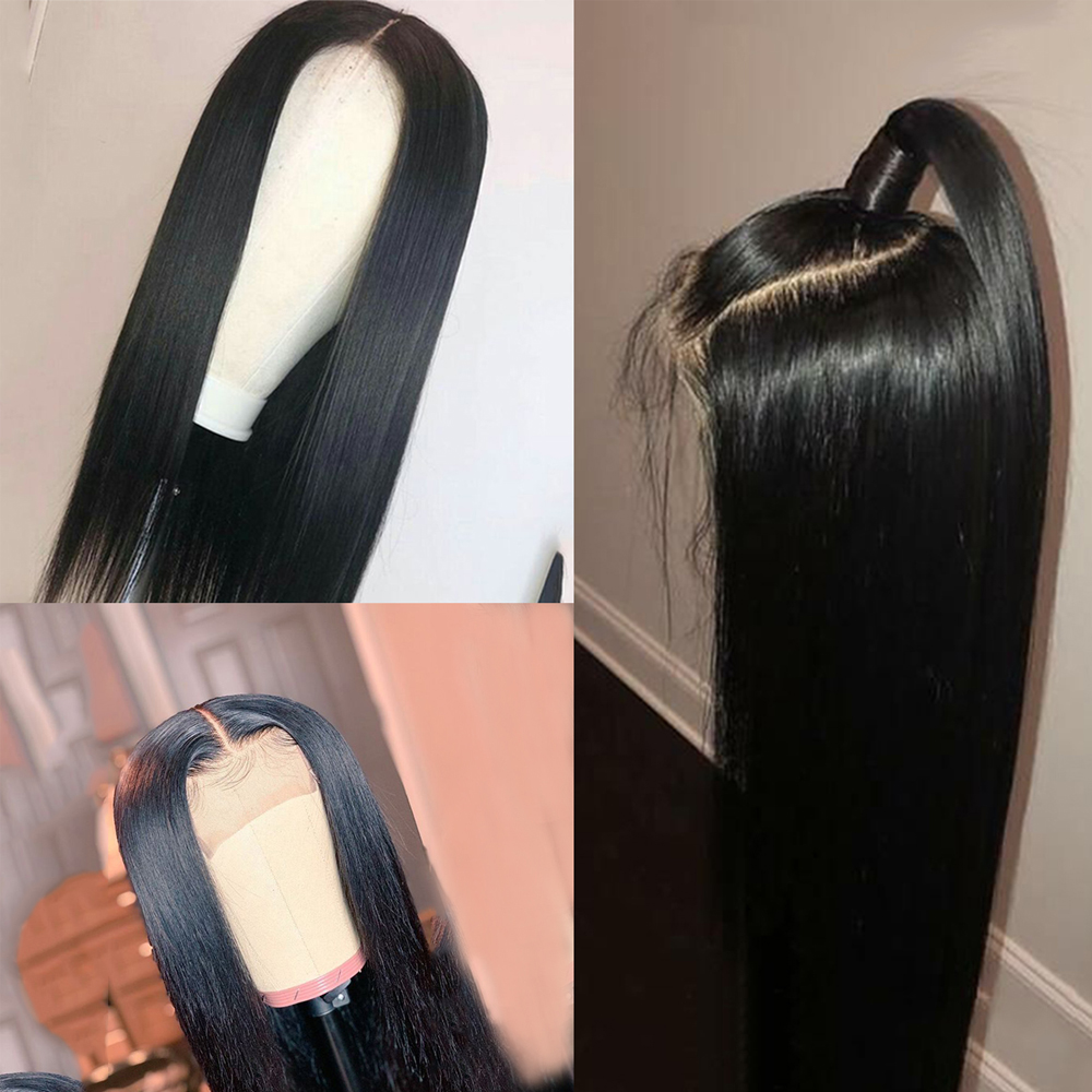 Abijale 4x4 Lace Closure Wig Straight Brazilian Lace Front Human Hair Wigs PrePlucked 150% Density Remy Lace Frontal Wig