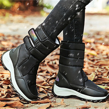 Snow Boots Women Winter 2019 Waterproof Sturdy Sole Mid calf Platform boots Plush Warm shoes for Girls Hook&Loop