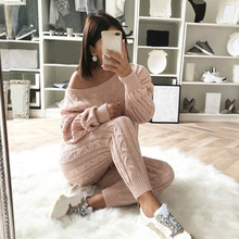 ADISPUTENT New Autumn Cotton Tracksuit Women 2 Piece Set Sweater Top+Pants Knitted Suit O-Neck Outwear