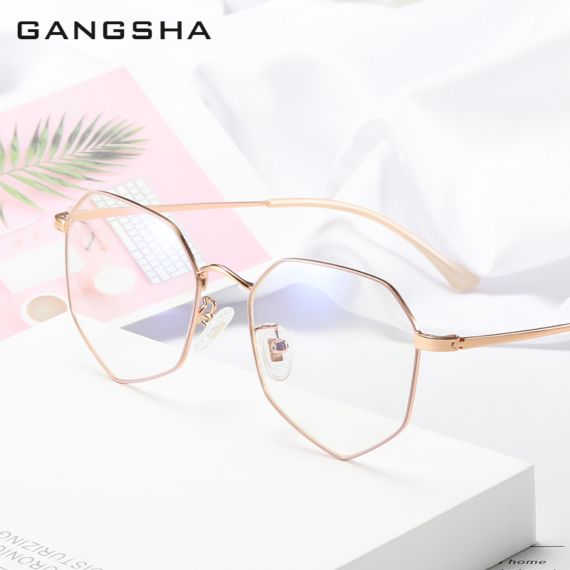GANGSHA Fashion Unisex Anti Blue Light Glasses Frame Women Men Lens Simple Metal Polygon Anti-blue Clear Eyewear Frames 00003