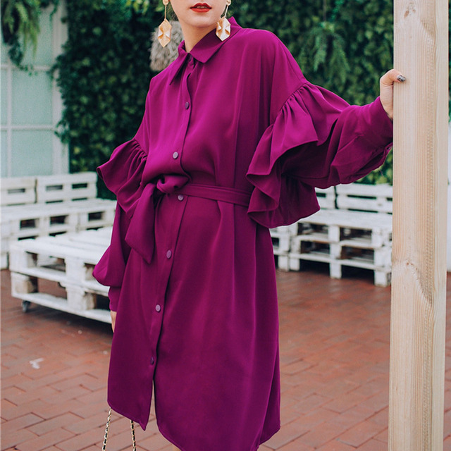LANMREM Rose Red Lapel Long Sleeve Ruffled Waistband Single breasted Loose Plus Woman Dress Casual Fashion 2020 autumn New TV534