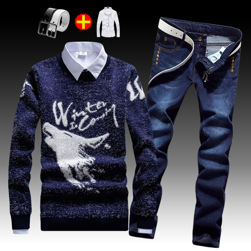 Autumn Winter Men's Pullover Sweaters Coat Jeans Pants With White Shirt 3pcs Set Long Sleeve Sweater Long Trousers Warm Clothing