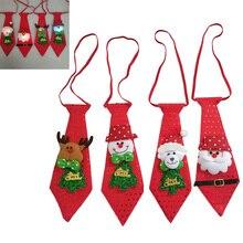 Christmas Santa Tie Kids Glowing Christmas Ties Santa Claus Snowman Elk Bear Bow Ties Kids Gift  Party Decor New Year