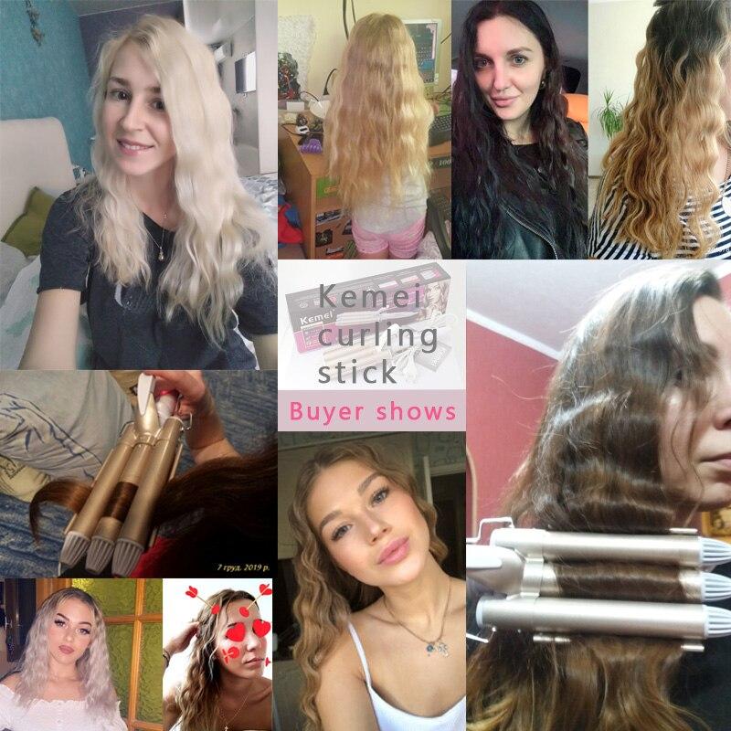 Kemei straightener modelador de cabelo ferramenta estilo
