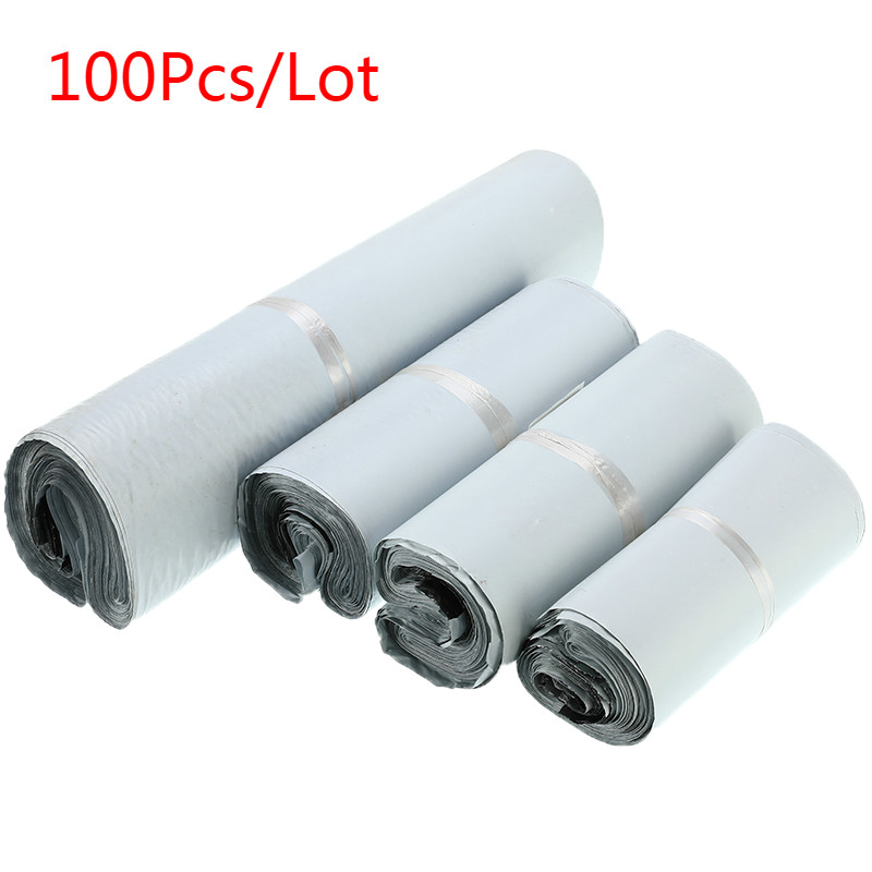 Light Gray Courier Bag 100pcs Self-seal Mailbag Plastic Poly Mailing Envelope Waterproof Postal Shipping Bags Courier Envelope