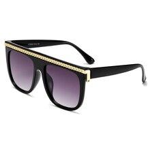 Brand Design New Sunglasses Fashion Women Flat Top Square Lu