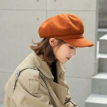 2019 Women Ladies Winter Beret Hat Leisure Warm Comfortable Wool Octagonal Cap Adjustable Female Flat Top Hat