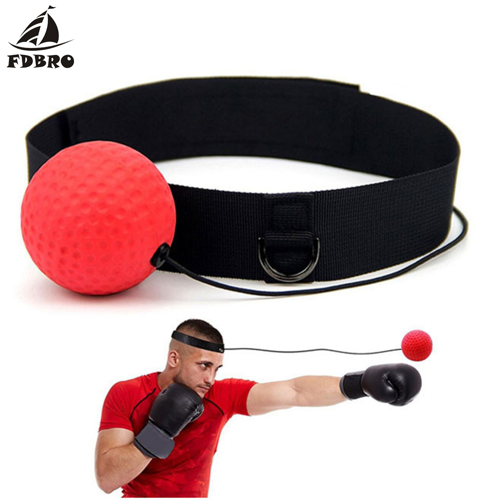 FDBRO Boxing Speed Punch Ball Reflex Training Headband Improve Reaction Muay Thai Gym Exercise Equipment Hand Eye Coordination