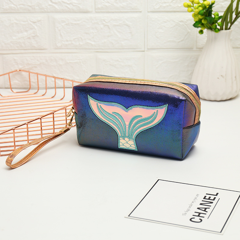 Large Storage Cosmetic Bag Women Colorful Mermaid tail Organize Bags