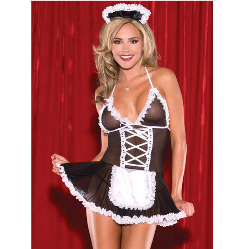 Sexy Lingerie Sexy Meid Outfit Cosply Perspectief Netto Garen Maid Erotische Lingerie Set Role-Playing Game Activiteit Maid Kleding