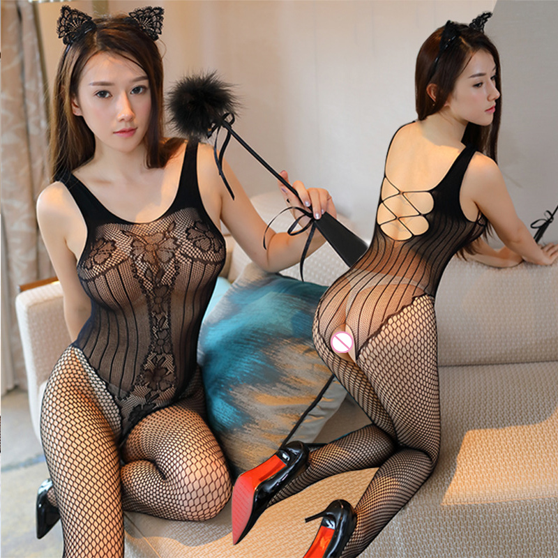 SAROOSY Sexy Wedding Costume Erotic Lingerie For Women Hot Porn Bodystocking Slips Fishnet Stocking Sexy Underwear Open Crotch