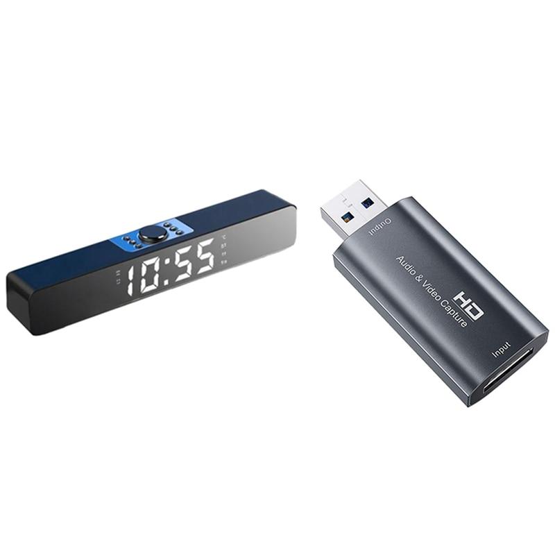 Led Sound Bar Alarm Clock Wireless Bluetooth Speaker(Black) & Audio Video Capture Card HDMI to USB 2.0 HD 1080P