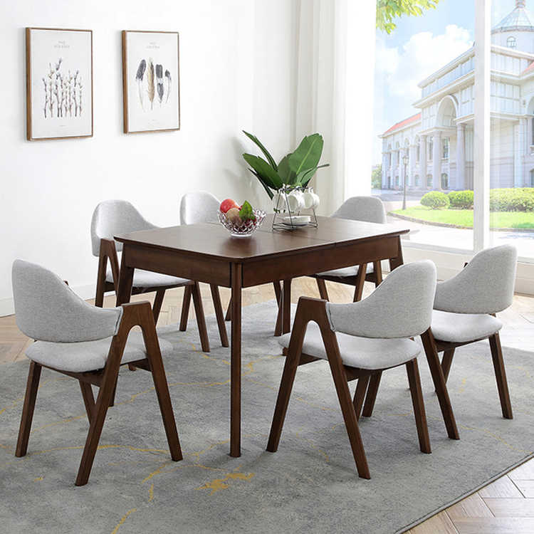 Nordic Solid Wood Dining Table Chair Combination Dining Table Set Modern Rectangular Retractable Folding Table 6 Person Aliexpress