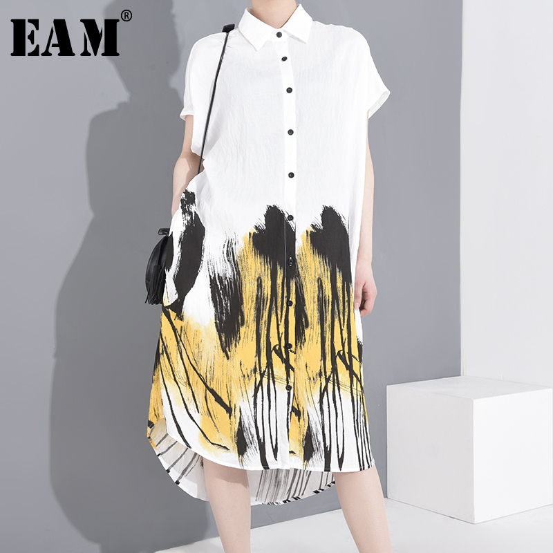 [EAM] Women Pattern Printed Big Size Big Size Shirt Dress New Lapel Short Sleeve Loose Fit Fashion Spring Summer 2020 1T42800